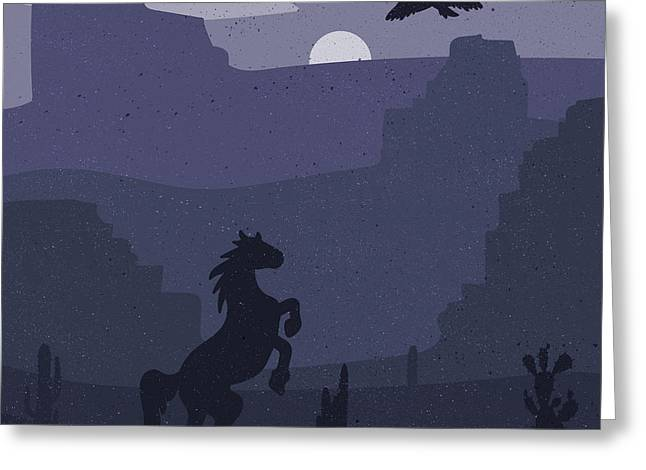 Retro Wild West Galloping Horse In Greeting Card by Barsrsind