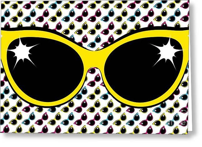 Retro Yellow Cat Sunglasses Greeting Card