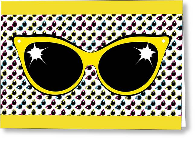 Retro Yellow Cat Sunglasses Greeting Card by MM Anderson