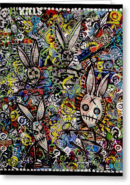 Return Of The Bunny Men        Greeting Card by Josh Brown