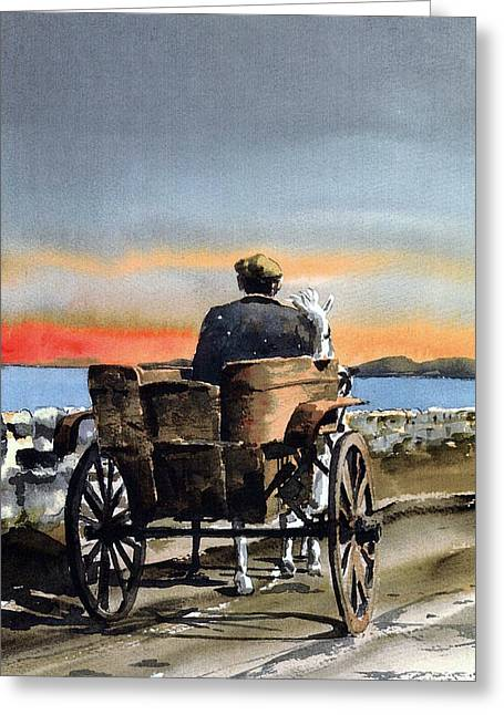 Returning Home. Greeting Card by Val Byrne