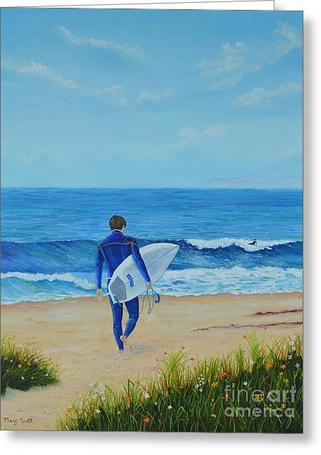 Greeting Card featuring the painting Returning To The Waves by Mary Scott