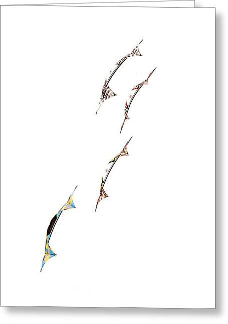 Rev Kites On White 1 Greeting Card by Rob Huntley