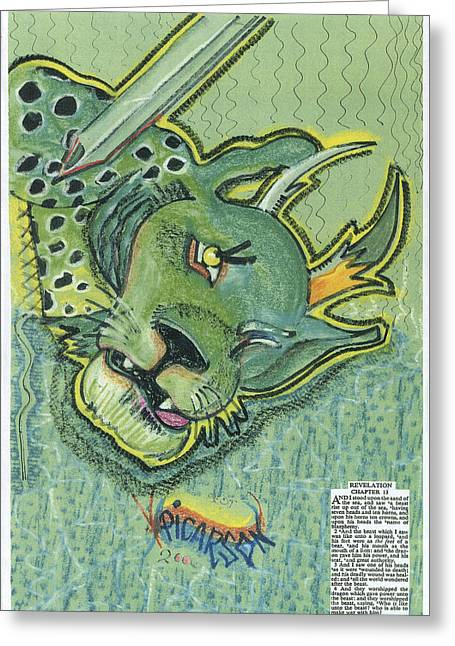 Revelation  Thirteen The Beast Greeting Card by D Picarson