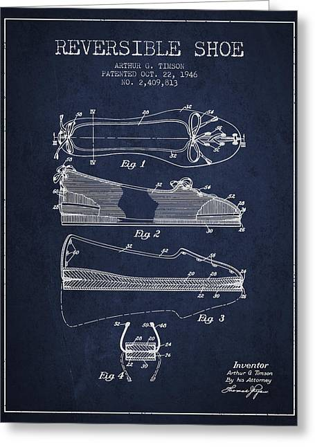 Reversible Shoe Patent From 1946 - Navy Blue Greeting Card by Aged Pixel