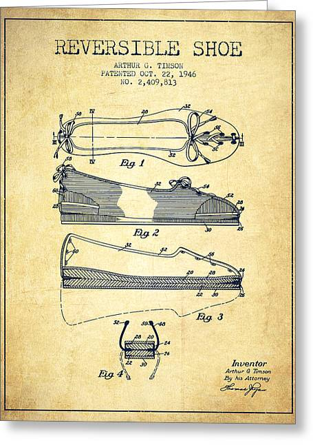 Reversible Shoe Patent From 1946 - Vintage Greeting Card by Aged Pixel