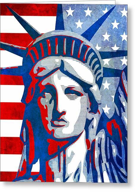 Reversing Liberty 3 Greeting Card by Angelina Vick