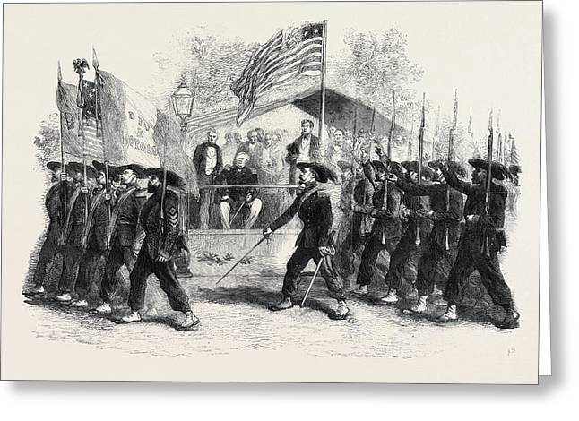 Review Of Federal Troops On The 4th Of July By President Greeting Card by English School