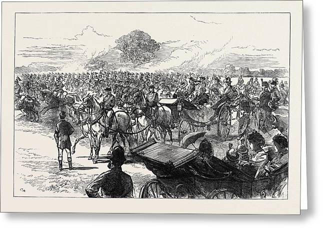 Review Of The Household Brigade By Queen Victoria In Bushey Greeting Card by English School