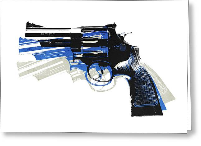 Revolver On White - Left Facing Greeting Card