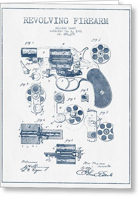 Revolving Firearm Patent Drawing From 1881 -  Blue Ink Greeting Card