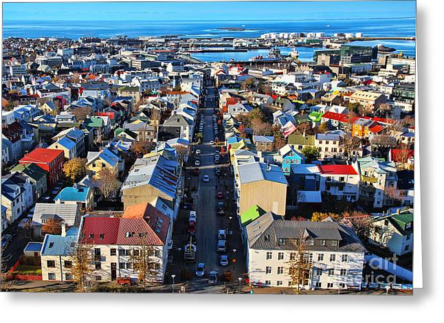 Reykjavik Cityscape Panorama Greeting Card by Jasna Buncic