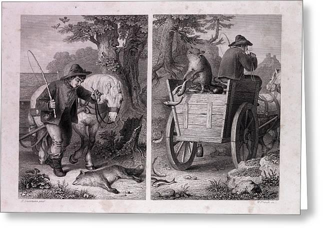 Reynard And The Fish Cart Greeting Card by English School