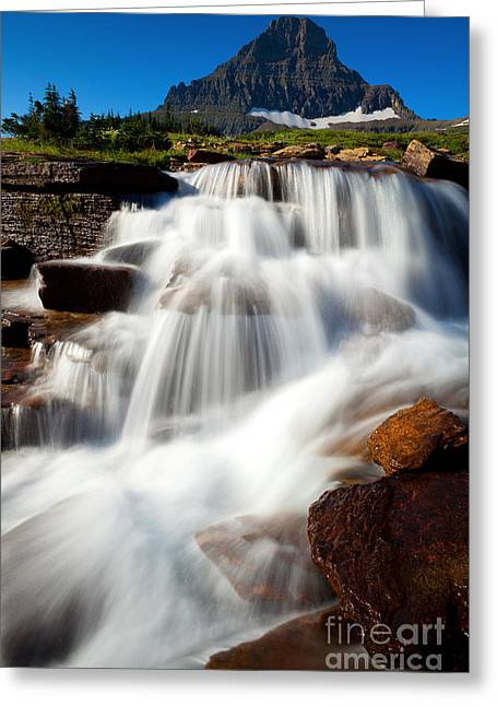 Greeting Card featuring the photograph Reynolds Peak Waterfall by Aaron Whittemore