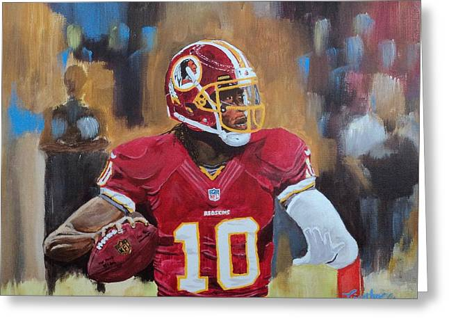 Washington Redskins Rg3 Greeting Card by Timothy Michaels Flores