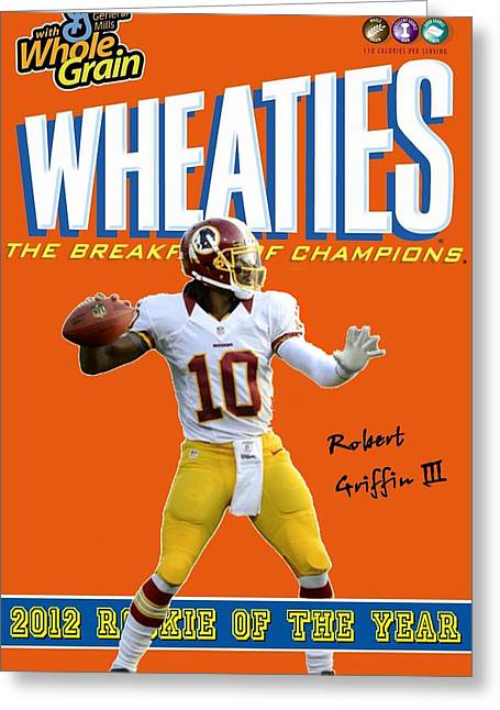 Rg3 Roy Wheaties Box Greeting Card by Paul Van Scott