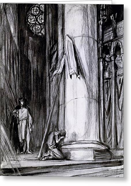 Rheims Cathedral, Scene From St Joan Greeting Card by Charles Ricketts