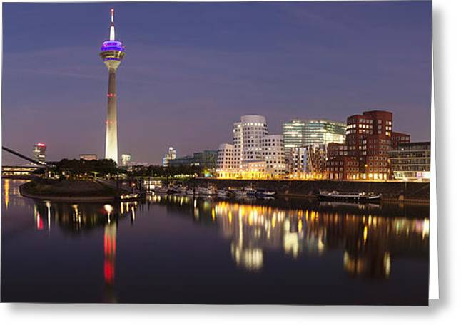 Rheinturm Tower And Gehry Buildings Greeting Card