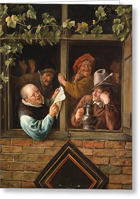 Rhetoricians At A Window Greeting Card by Jan Steen