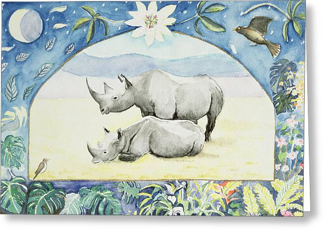 Rhino Month Of February From A Calendar Greeting Card
