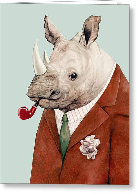 Rhino Greeting Card by Animal Crew