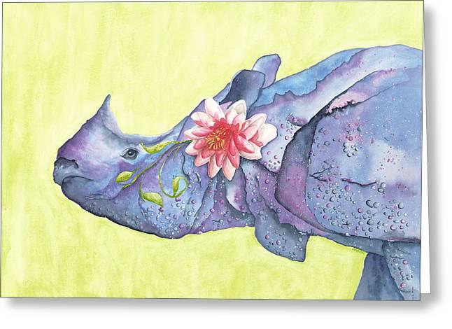 Rhino Whimsy Greeting Card by Mary Ann Bobko