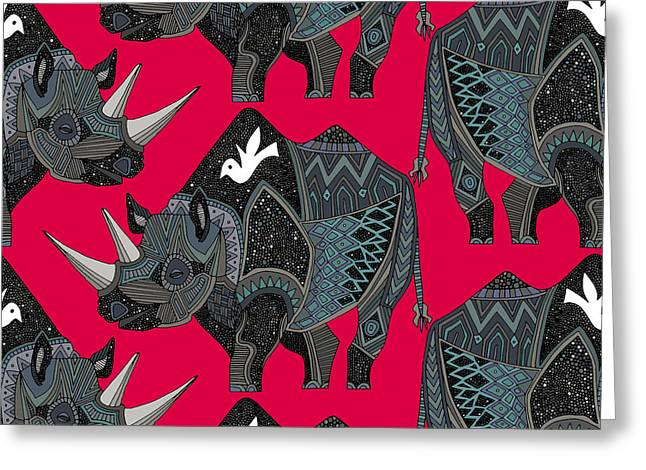 Rhinoceros Red Greeting Card by Sharon Turner