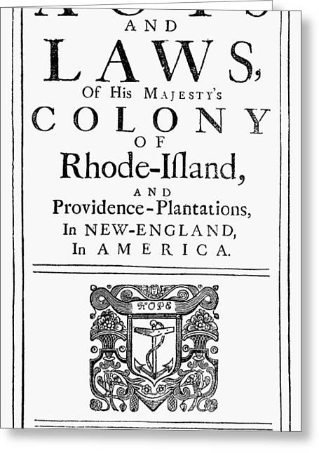 Rhode Island Acts And Laws Greeting Card
