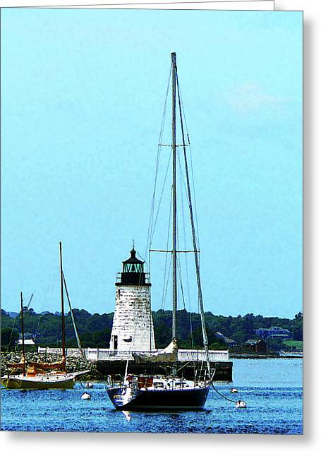 Bristol Greeting Cards - Rhode Island - Boats near Lighthouse Bristol RI Greeting Card by Susan Savad