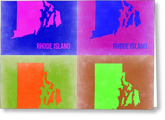 Rhode Island Pop Art Map 2 Greeting Card by Naxart Studio