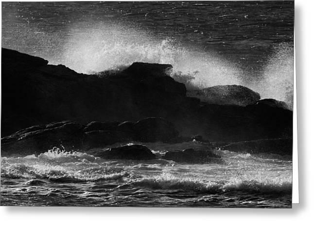 Rhode Island Rocks With Crashing Wave Greeting Card
