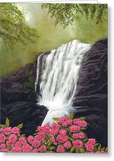Rhodedendron Falls Greeting Card by Rick Fitzsimons