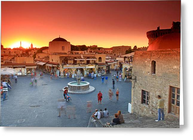 Rhodes Old Town Greeting Card by Ollie Taylor
