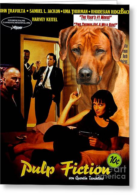 Rhodesian Ridgeback Art Canvas Print - Pulp Fiction Movie Poster Greeting Card