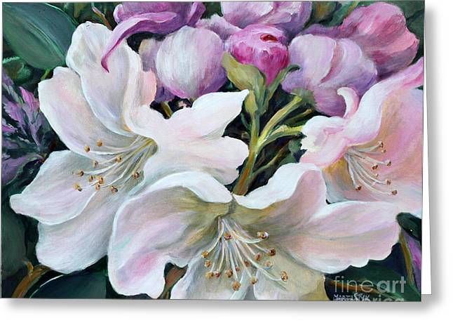 Rhododendron Greeting Card by Marta Styk