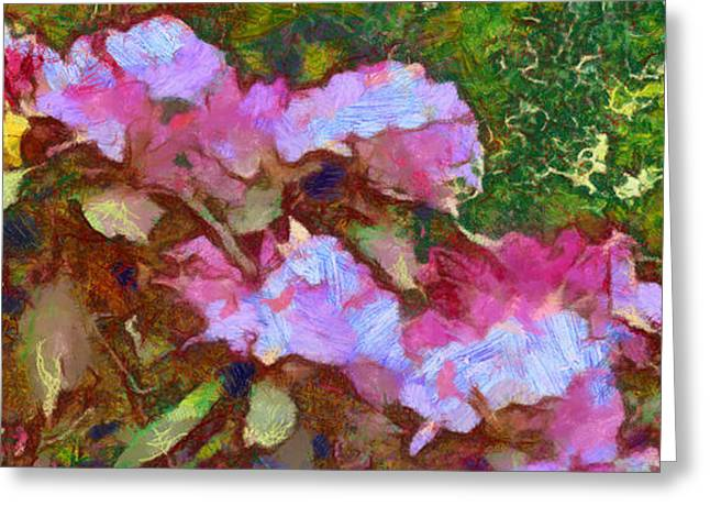 Greeting Card featuring the digital art Rhododendron Splash by Spyder Webb