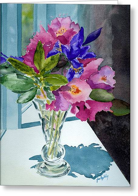 Rhododendrons And Iris Greeting Card