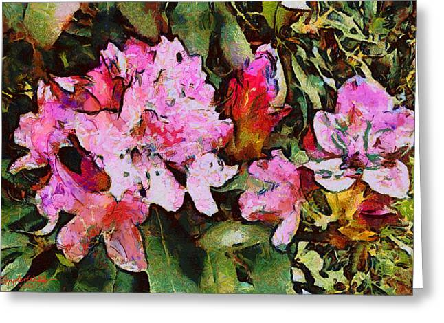 Greeting Card featuring the digital art Rhododendrons One by Spyder Webb