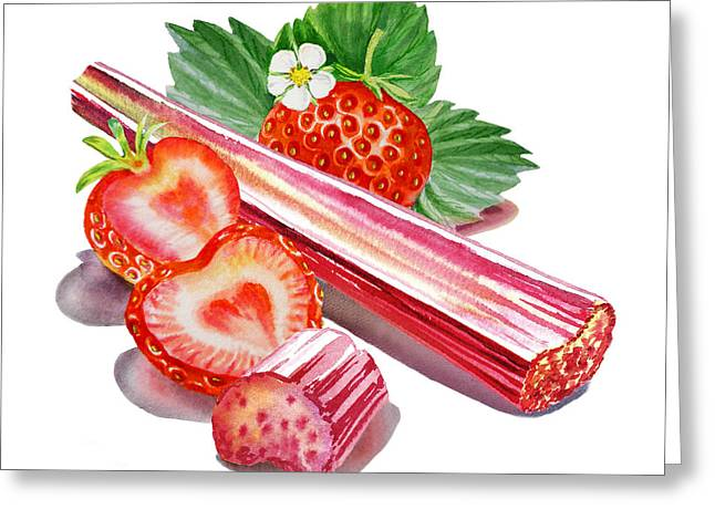 Greeting Card featuring the painting Rhubarb Strawberry by Irina Sztukowski