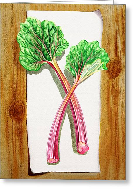 Rhubarb Tasty Botanical Study Greeting Card