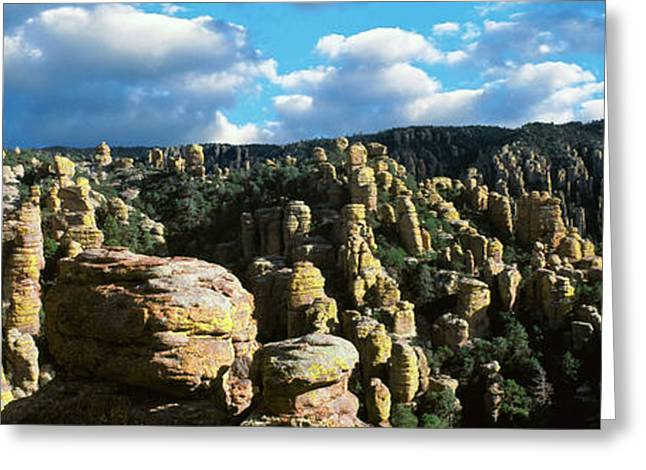 Rhyolite Sculptures Along The Echo Greeting Card by Panoramic Images