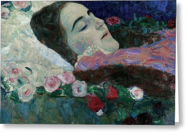 Ria Munk On Her Deathbed Greeting Card by Gustav Klimt