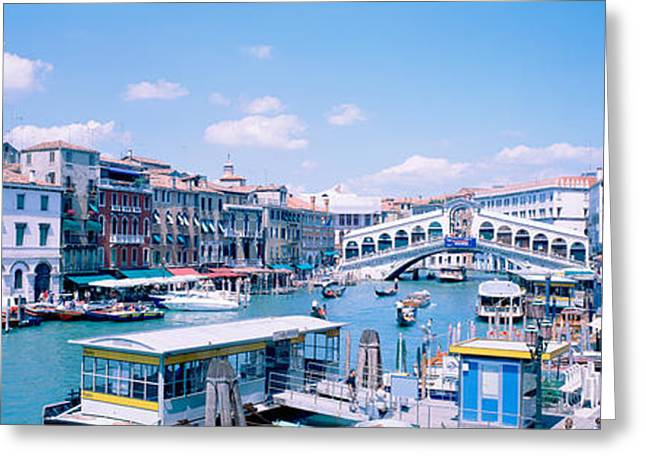 Rialto And Grand Canal Venice Italy Greeting Card by Panoramic Images