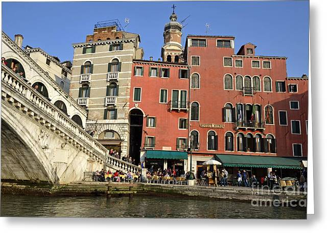 Rialto Bridge And Buildings Greeting Card by Sami Sarkis