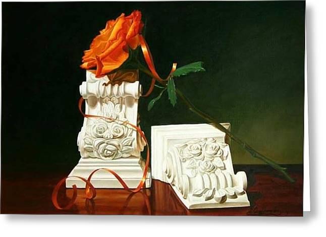 Ribbon And Roses Greeting Card by Gary  Hernandez
