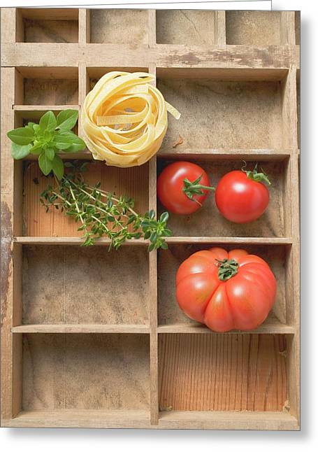Ribbon Pasta, Tomatoes And Fresh Herbs In Type Case Greeting Card