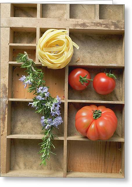 Ribbon Pasta, Tomatoes And Rosemary In Type Case Greeting Card