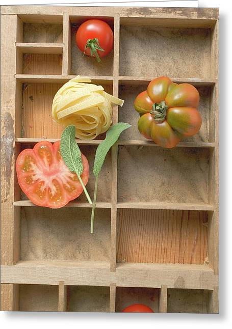Ribbon Pasta, Tomatoes And Sage In Type Case Greeting Card