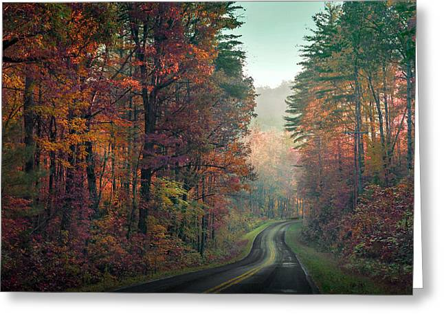 Ribbon Road Greeting Card by William Schmid
