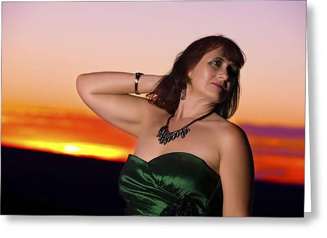 Ribbon Sunset Greeting Card by DJ Haimerl